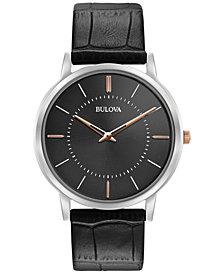 Bulova Men's Dress Black Leather Strap Watch 40mm 98A167