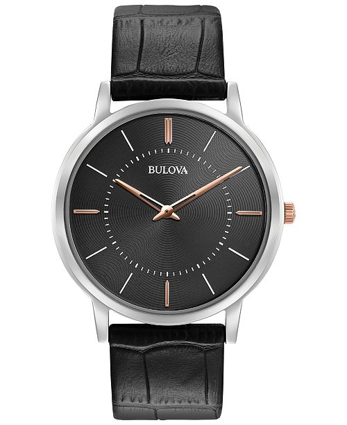Men S Dress Black Leather Strap Watch 40mm 98a167