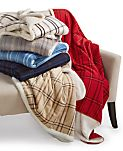 CLOSEOUT! Martha Stewart Collection Classic Reversible Micromink Faux Sherpa Throw, Only at Macy's