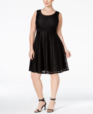 American Rag Trendy Plus Size Lace Fit & Flare Dress, Only at Macy's