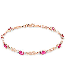 Ruby (2-1/4 ct. t.w.) and Diamond (1/10 ct. t.w.) Link Bracelet in 14k Rose Gold