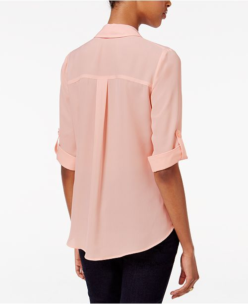 Pink Sleeve Tab Juniors' Shirt BCX qHIE7