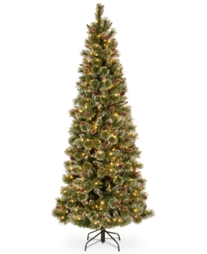 National Tree Company 75 Glittery Bristle Slim Pine Hinged Christmas Tree with White Tipped Cones and 500 Clear Lights