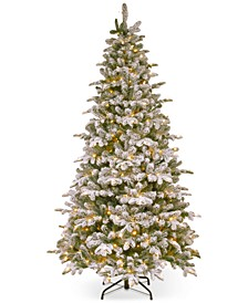 7.5' Feel-Real ® Snowy Everest Fir Medium Hinged Christmas Tree with 450 Clear Lights
