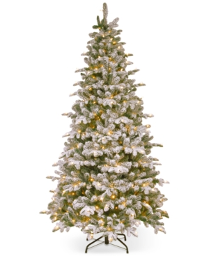 National Tree Company 75 FeelReal Snowy Everest Fir Medium Hinged Christmas Tree with 450 Clear Lights