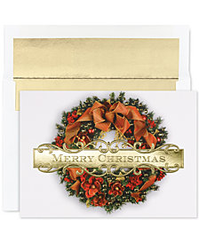 Masterpiece Cards Christmas Wreath Set of 18 Boxed Greeting Cards With Envelopes