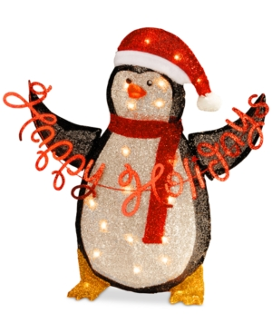 National Tree Company 29 Silver Fabric Tinsel Happy Holidays 2D Penguin with 20 Clear Lights