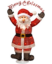 """36"""" Silver Fabric Tinsel """"Merry Christmas"""" 2D Santa Claus with 20 Clear Lights"""