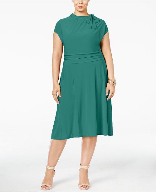 Love Squared Plus Size Tie-Neck A-Line Dress & Reviews ...