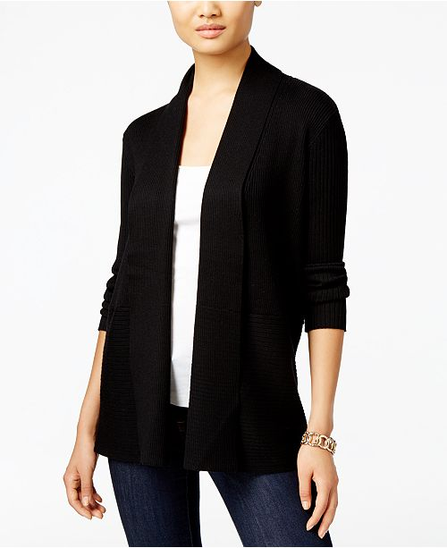 Jm Collection Plus Size Ribbed Open-Front Cardigan