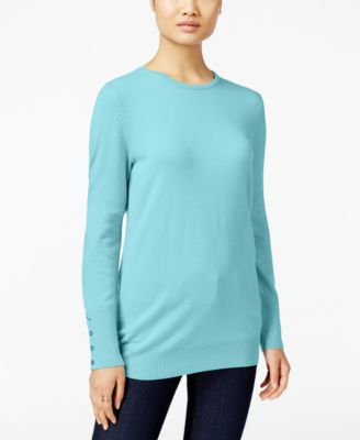 Image of JM Collection Crew-Neck Button-Cuff Sweater, Only at Macy's