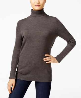 Image of JM Collection Button-Cuff Turtleneck Sweater, Only at Macy's