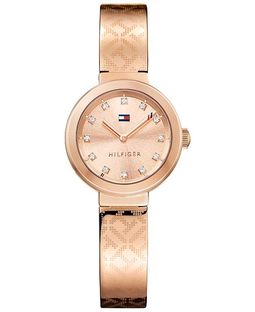 Tommy Hilfiger Women's Sophisticated Sport Rose Gold-Tone Stainless Steel Bangle Bracelet Watch 28mm