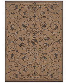 "CLOSEOUT! Couristan Recife Indoor/Outdoor Veranda Cocoa-Black 2'3"" x 7'10"" Runner Rug"
