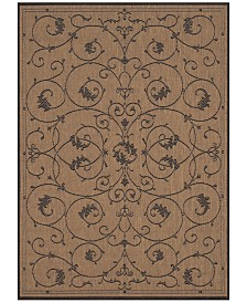 "CLOSEOUT! Couristan Recife Indoor/Outdoor Veranda Cocoa-Black 3'9"" x 5'5"" Area Rug"