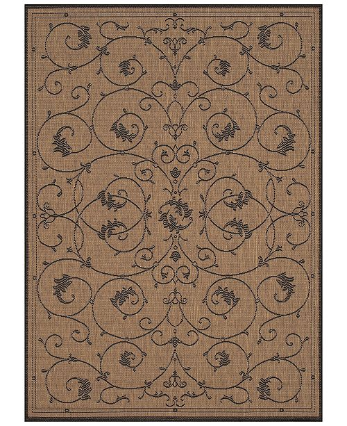 "Couristan CLOSEOUT! Recife Indoor/Outdoor Veranda Cocoa-Black 3'9"" x 5'5"" Area Rug"
