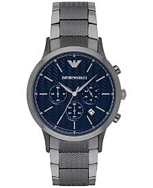 Emporio Armani Men's Chronograph Renato Gunmetal Stainless Steel Bracelet Watch 43mm AR2505