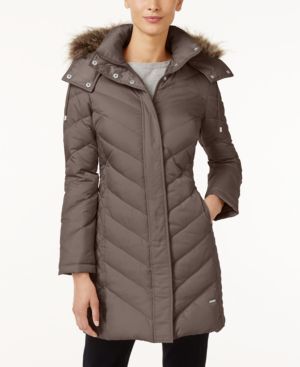 FAUX-FUR-TRIM DOWN CHEVRON PUFFER COAT