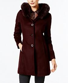 Fox-Fur-Trim A-Line Walker Coat, Created for Macy's