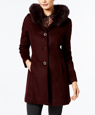 Forecaster Fox-Fur-Trim A-Line Walker Coat, Created for Macy's ...