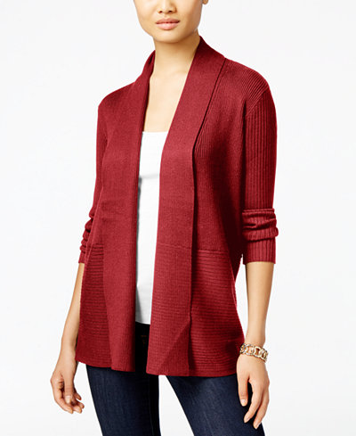 JM Collection Ribbed Open-Front Cardigan, Created for Macy's ...