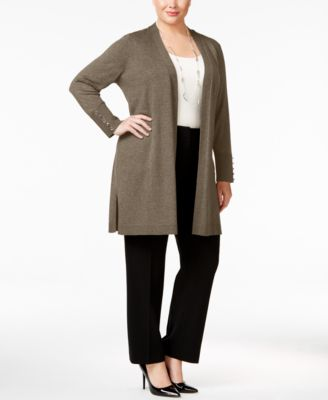 JM Collection Plus Size Open-Front Duster Cardigan, Only at Macy's
