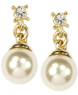 Image of Anne Klein Gold-Tone Imitation Pearl Drop Earrings