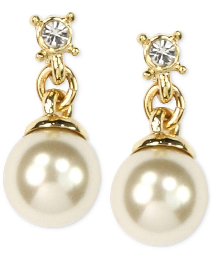 Anne Klein - Gold-Tone Imitation Pearl Drop Earrings
