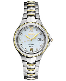 Seiko Women's Solar Coutura Diamond Accent Two-Tone Stainless Steel Bracelet Watch 29mm SUT308