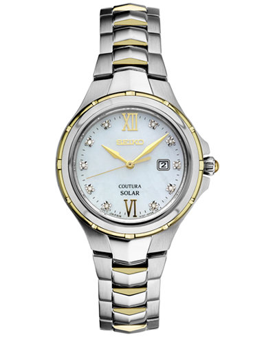 Seiko Women's Solar Coutura Diamond Accent Two-Tone Stainless Steel Bracelet Watch 29mm SUT308