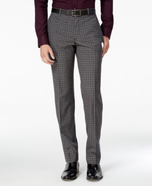 Men's Vintage Style Pants, Trousers, Jeans, Overalls Bar Iii Mens Slim-Fit Charcoal Check Dress Pants Only at Macys $50.53 AT vintagedancer.com