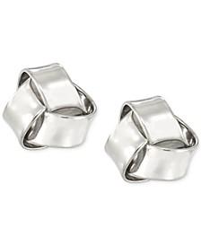 Love Knot Stud Earrings in 10k White Gold