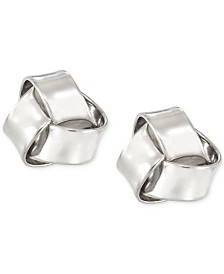 Love Knot Stud Earrings in 10k White Gold