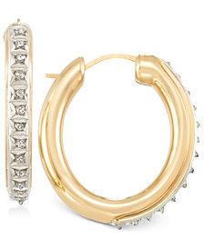 Signature Diamonds™ Medium Hoop Earrings in 14k Gold over Resin Core Diamond and Crystallized Diamond Dust