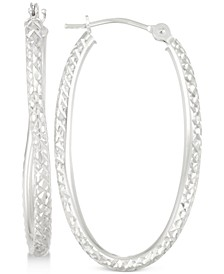 Textured Twisted Oval Hoop Earrings in 10k White Gold
