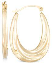 Draped-Look Oval Hoop Earrings in 10k Gold