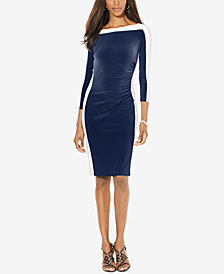 Lauren Ralph Lauren Colorblocked Long-Sleeve Sheath Dress