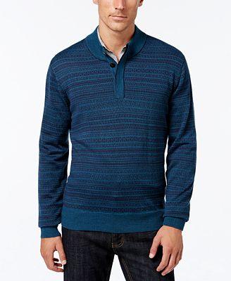 Cutter & Buck Men's Big and Tall Douglas Fair Isle Sweater