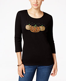 Karen Scott Petite Halloween Jewel Pumpkin Cotton Embellished 3/4-Sleeve Top, Created for Macy's