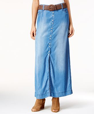 INC International Concepts Front-Slit Denim Maxi Skirt, Only at Macy's