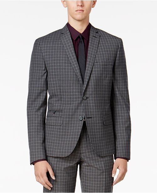 Bar III Men's Charcoal Check Slim-Fit Jacket, Created for Macy's