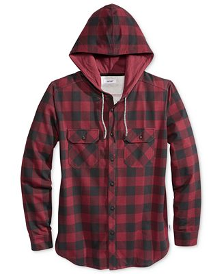 Univibe Men's Plaid Long-Sleeve Hoodie Shirt
