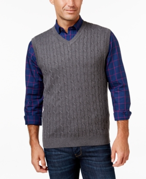 Men's Vintage Inspired Vests Club Room Mens Big and Tall Cable-Knit Sweater Vest $55.00 AT vintagedancer.com