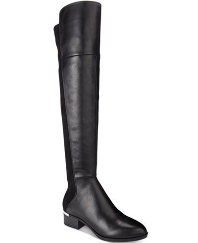 Bar III Rene Metal-Heel Over-The-Knee Stretch Boots, Only at ...