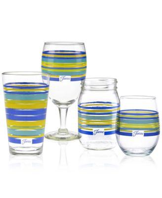 Lapis Stripe Set of 4 Stemless Wine Glasses