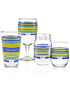 Lapis Stripe Glassware Collection
