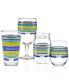 Lapis Stripe Glassware Collection