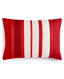 "CLOSEOUT! Martha Stewart Collection Rich Red Stripe 14"" x 20"" Decorative Pillow, Created for Macy's"