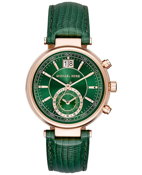 8a6f7998c66b3 ... Michael Kors Women s Chronograph Sawyer Green Leather Strap Watch 39mm  MK2581 ...
