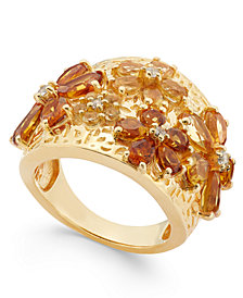 Citrine (2-1/8 ct. t.w.) and White Topaz (1 ct. t.w.) Flower Statement Ring in 14k Gold Vermeil